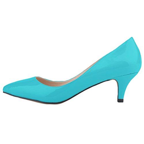 WanYang Donne Synthetic Heel a Shoes Ragazze Tacco Punta col a Scarpe Elegante Spillo Tacco Kitten Blu Scarpe rrYqfHpd
