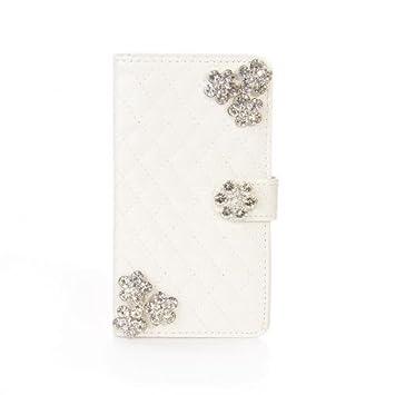 Portatil Style Diseño Funda cuadros metálico con brillantes flores bordados y tarjeta de visita Función Flip