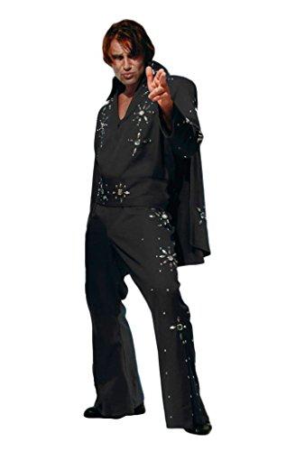 Men's Elvis Presley Deluxe Jumpsuit Costume with Cape (2XL, Black (Blue Stones))