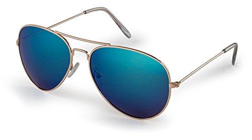Stylle Aviator Sunglasses, Gold Frame With Blue Lenses, 100% UV ()