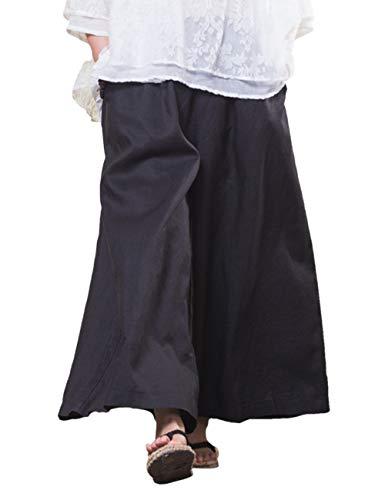 Gamba Besbomig Larga Boho Biancheria Lungo All'aperto Hippie Nero Pantaloni Casuale Cotone Harem Yoga 818TqBnO