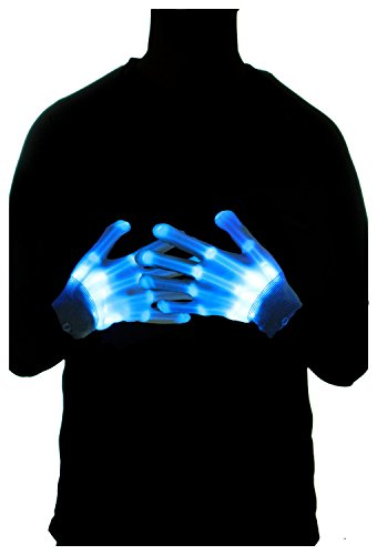 Lighted Halloween Costumes (LED Skeleton Gloves Light Up toy Costume Decorate Light Gloves Colorful Flashing Illuminating Novelty Collocation Gloves Hip Hop Props Show Cool Props Clubbing Rave Disco Masquerade Theme Party (Blue))