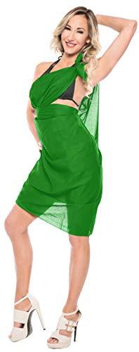 base e323 donne delle del bikini di LA bagno sarong cotone da LEELA 2X Verde coprire da costumi noi spiaggia costume 100 del tqSSB1w
