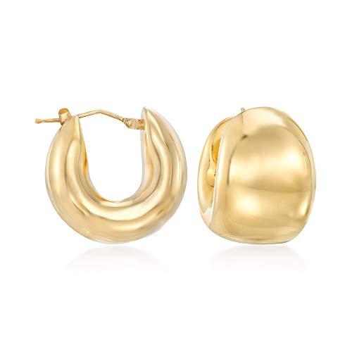 Ross-Simons Italian Andiamo 14kt Yellow Gold Wide Huggie Hoop Earrings ()