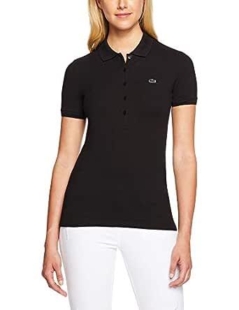 Lacoste Women's Basic Womens 5 Button Polo, Black,34F (Standard)