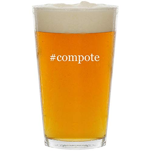 #compote - Glass Hashtag 16oz Beer Pint