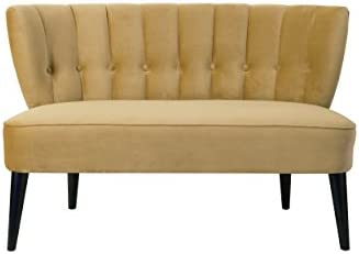 Jennifer Taylor Becca Tufted Wooden Legs Settee, Gold