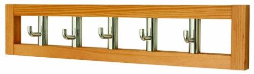 Headbourne Hr0053X Garderobenleiste mit 5 drehbaren Haken an einem hellen Holzbrett