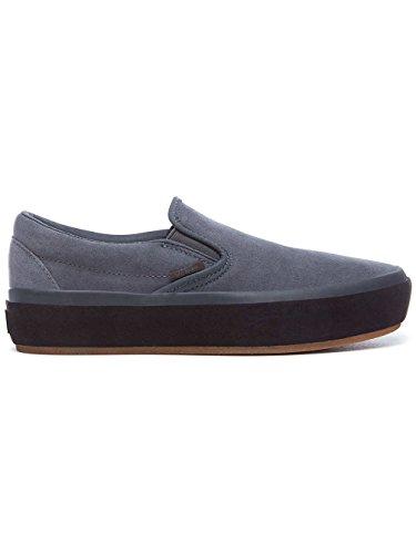 Asphalt Platform Vans Classic Damen Sneakers On Slip Grau 7Sx81awq