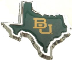 Baylor University Chrome Domed State Of Texas Auto Emblem by Elektroplate