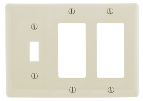 Bryant Electric NP1262LA 3-Gang 1 Toggle 2 Decorator/GFCI Wall Plate, Light Almond - 1 Gang Almond