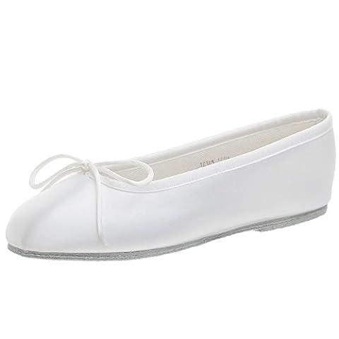 White Satin Ballet Flat Baby Girl's Shoes (Little Girl's 12.5, White)