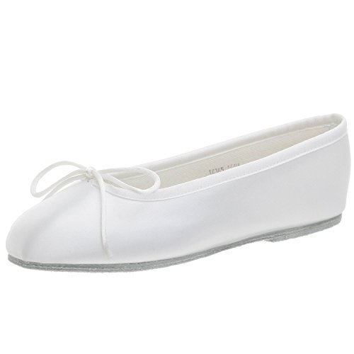 Youth White Satin (White Satin Ballet Flat Baby Girl's Shoe (Little Girls 8, White))