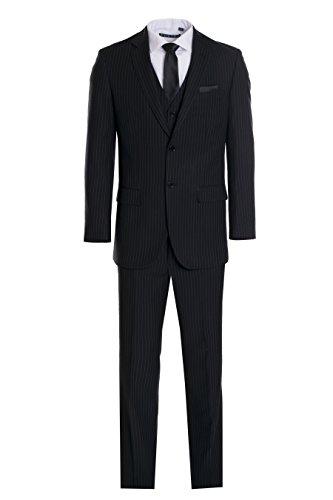Black Pinstripe Wool Suit (King Formal Wear Men's Premium Modern Fit Pinstripe Suit - Many Colors (Black Pinstripe, 46 Long)…)