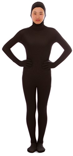 Seeksmile Unisex Face Open Second Skin Lycra Spandex Zentai Full Body Suit (Large, Black) - Cheap Skin Suit
