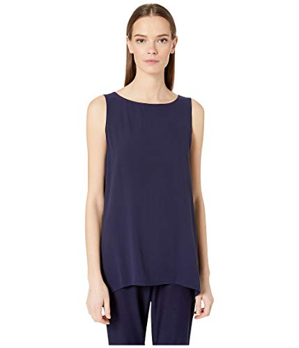 Eileen Fisher Midnight System Silk Georgette Crepe Long Shell