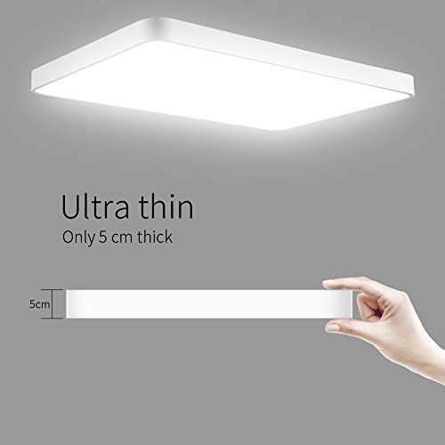 Viugreum LED Flush Mount Ceiling Light, 48W 2880 Lumens Square Panel Light, 6000K (Daylight White) Downlights Lighting Fixture for Kitchen, Hallway, Bathroom, Stairwell by Viugreum (Image #4)