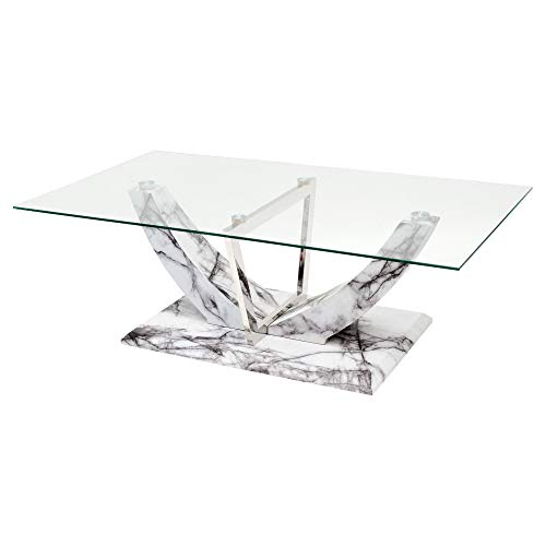 Febland Jericho Glass Top Coffee Table With Marble Effect