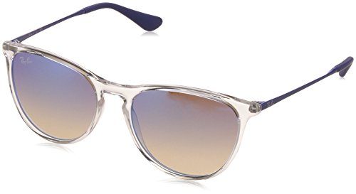 Ray-Ban Junior RJ9060S Erika Kids Round Sunglasses, Transparent/Blue Gradient Flash, 50 mm (New Wayfarer Junior)