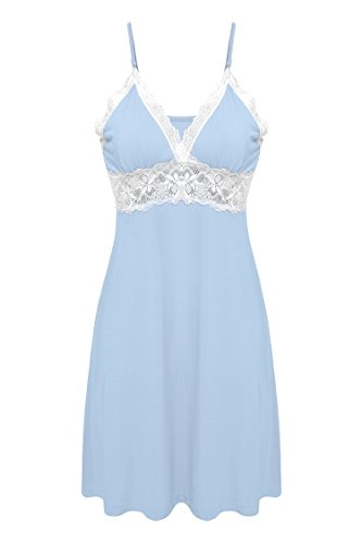 Ekouaer Womens Long Slip Lingerie Nightgown Nightwear (Blue, Medium)