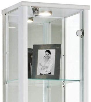 LED et Miroir Vitrine en verre avec 4 /étag/ères en verre r/églables en hauteur 176 x 37 x 33 cm avec serrure collection miniature blanc