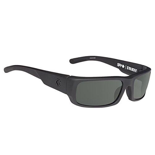 Spy Optic Caliber Polarized Shield Sunglasses, Soft Matte Black/Happy Gray/Green Polar, 59 mm