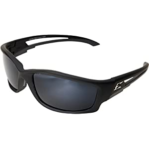 Edge Eyewear TSK21-G15-7 Kazbek Polarized Safety Glasses, Black with G-15 Silver Mirror Lens