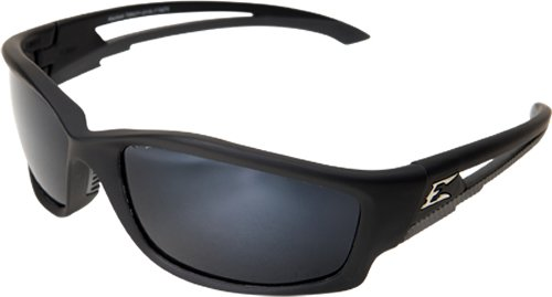 Edge Eyewear TSK21-G15-7 Kazbek Polarized Safety Glasses, Black with G-15 Silver Mirror Lens - Kazbek Polarized Safety Glasses