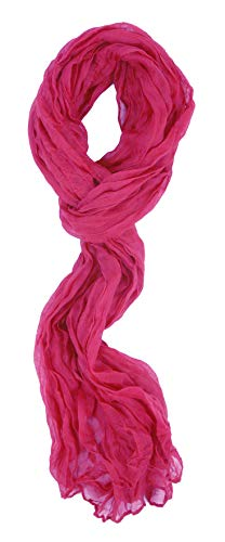 Love Lakeside-Women's Impressionist Watercolor Crinkle Scarf Hot Pink