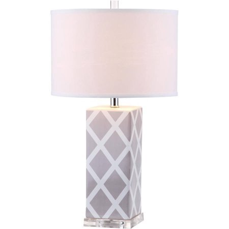 Safavieh Garden Lattice Table Lamp with CFL Bulb, Multiple Color (Grey/Off White Shade)