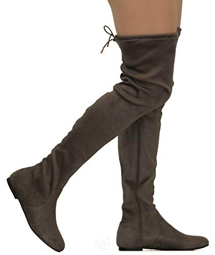 MVE Shoes Womens Fashionable Flat Over The Knee Boots - Comfortable Suede Adjustable Boots, Grey Suede 5.5