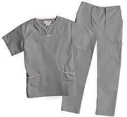 Natural Uniforms Womens Contrast Trim Scallop Scrub Set