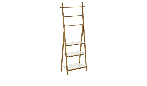 Estantería con 3 estantes y 3 Barras de Escalera de bambú MDF nórdica Blanca de 53x29x154 cm - LOLAhome: Amazon.es: Hogar