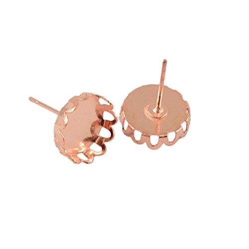 - Jili Online 20Pieces Retro Brass Round Earring Black Bezel Blank Base Settings DIY Cabochon Ear Stud - Rose Gold, 10mm