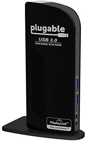 Plugable USB 3.0 Universal Laptop Docking Station for Windows (Dual Video HDMI and DVI/VGA, Gigabit Ethernet, Audio, 6 USB Ports)