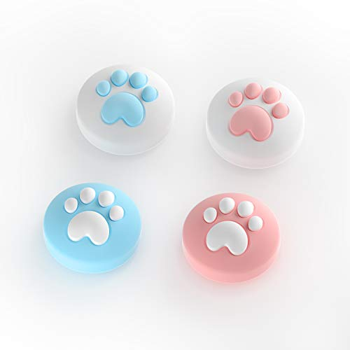LeyuSmart Clat Claw Design Thumb Grip Caps, Joystick Cap for Nintendo Switch & Lite, Soft Silicone Cover for Joy-Con Controller (Pink&Blue)