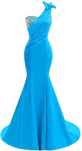 Lily Wedding Womens One Shoulder Satin Mermaid Prom Dresses 2018 Long Formal Evening Ball Gowns D44 Lake Blue Size 16 ()