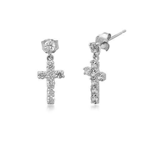 Jewelili 10kt White Gold Swarovski Cross Dangle Earrings