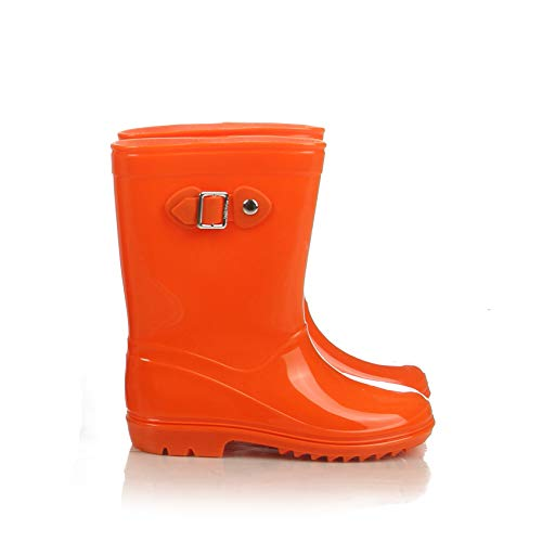 Silky Toes Boys Girls Rain Boots for Kids, Waterproof Toddler Little/Big Kids Classic Wellies (7 M US Toddler, Orange) -