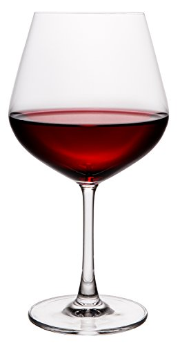 Pure and Simple Premium Crystal Wine Glasses, Burgundy Chardonnay Pinot Noir Red Wine Long Stemmed Glass, Set of 4, Extra Large, 24 fl oz