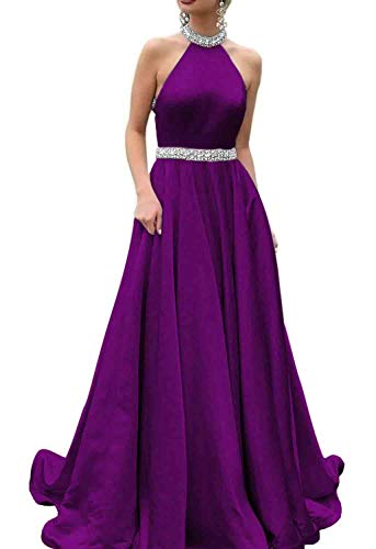Halter Purple Dress A Changuan Long Women's Line Prom Party Evening Pocket Satin with Dresses FqOFwaYgx