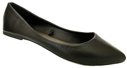 Shoes8teen Sko 18 Kvinner Ballerina Ballett Flate Sko Faste Stoffer Og Leoparder ... Svart Pu Potol