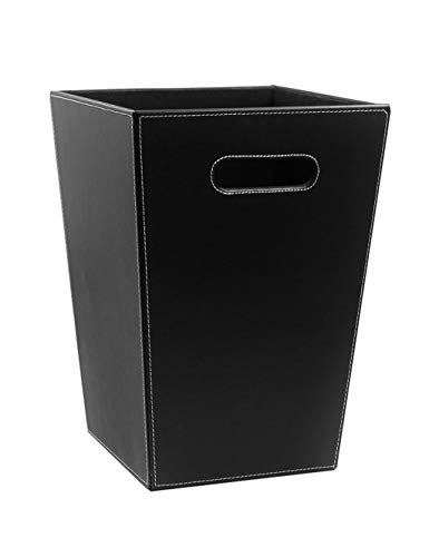 Liex-Leather Trash Can/Home Fashion Waste Paper Basket/Office Debris Bucket, Simple Square, for Living Room Bedroom, Office (25 × 19 × 34.5 cm)