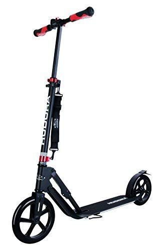 HUDORA 230 Kick Scooter for Adults, Big PU Wheels, Folding Frame, Adjustable Height (Black) (Height Roma Of)