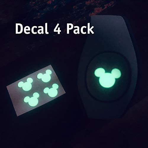 - ShopEmilyG Magic Band Decal | Glow in the Dark Mouse Head Decal 4 Pack | Made in the USA