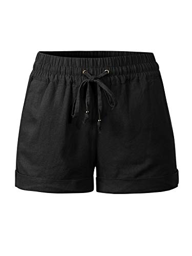 (Design by Olivia Women's Drawstring Elastic Waist Casual Comfy Cotton Linen Beach Shorts Black 3XL)