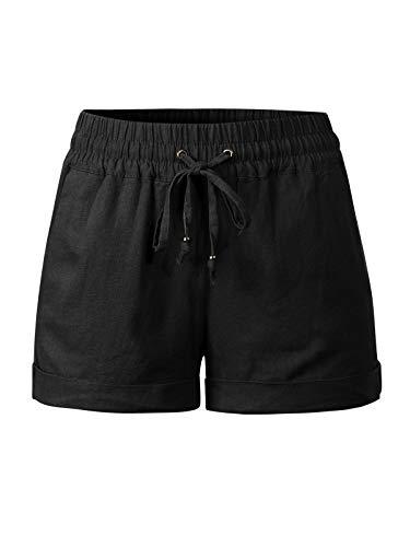 (Design by Olivia Women's Drawstring Elastic Waist Casual Comfy Cotton Linen Beach Shorts Black 2XL)