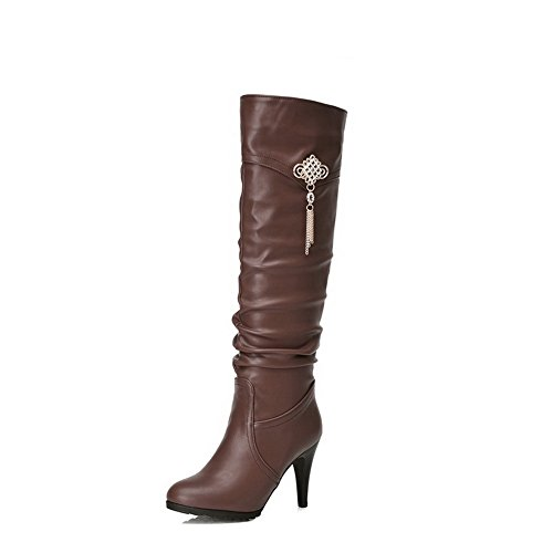 BalaMasa Girls Metal Chain Glass Diamond Stiletto Brown Imitated Leather Boots - 5.5 B(M) US
