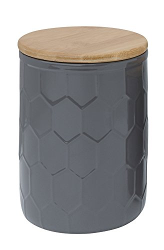 Creative Co op Ceramic Canister Honeycomb