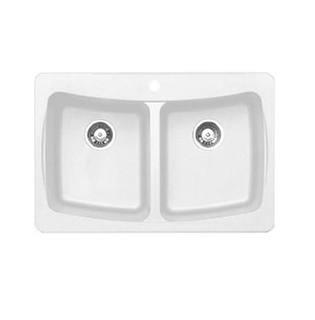 Pegasus AL20WH Granite Double Bowl Kitchen Sink, Opal White ...